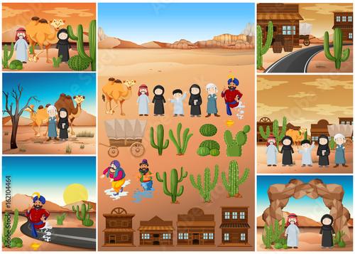 Fotobehang Indiërs Desert scenes with people and buildings