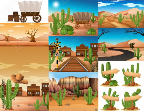 Fotobehang Indiërs Desert scenes with cactus and buildings