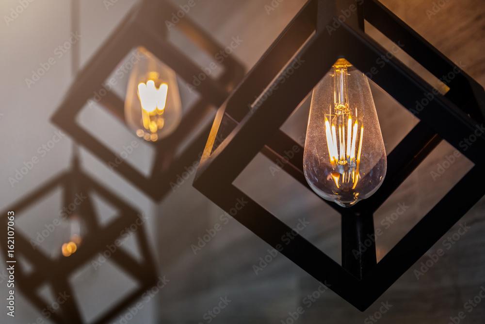 Fototapety, obrazy: modern pendant light with vintage light bulb