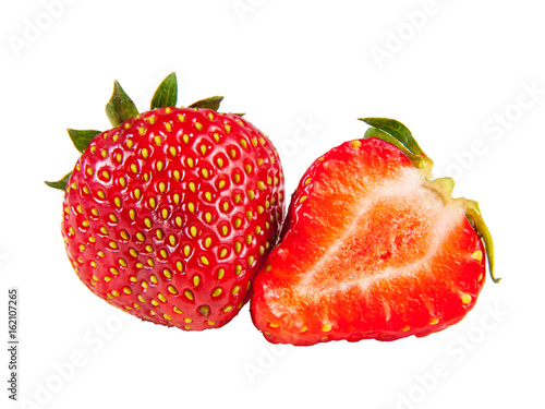 Staande foto Vruchten Two ripe juicy strawberry isolated on white background