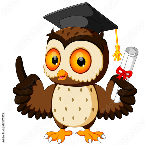 Deurstickers Uilen cartoon Owl cartoon wearing graduation cap
