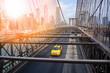 Taxi cab riding on Brooklyn bridge