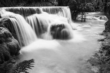 Fototapeta Wodospad Kuang si waterfall in Luang prabang,Laos. Black and White tone.