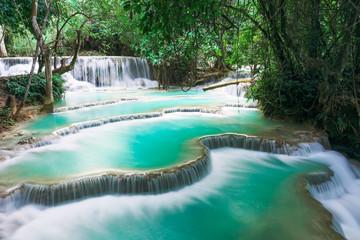 Fototapeta Wodospad Kuang si water fall in Luang prabang, Laos.