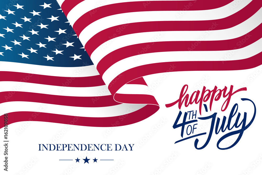 Fototapeta Happy 4th of July USA Independence Day greeting card with waving american national flag and hand lettering text design. Vector illustration.