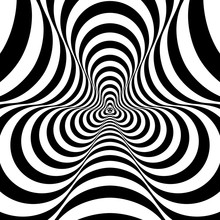 Optical, Visual Illusion, Entrance To The Tunnel. Concentric Abstract Monochrome Pattern - Spinner. 3D Rendering. Fidget Hand Spinner Toy.