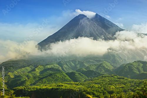 Mount Merapi in Yogyakarta, Indonesia Volcano Landscape View