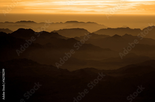 Panorama rocks of holy ground Mount Sinai on the sunrise, Egypt