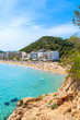 View of Cala San Vicente beach and hotels on shore, Ibiza island, Spain