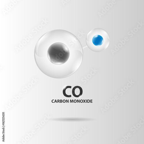 Valokuvatapetti carbon monoxide molecule model vector