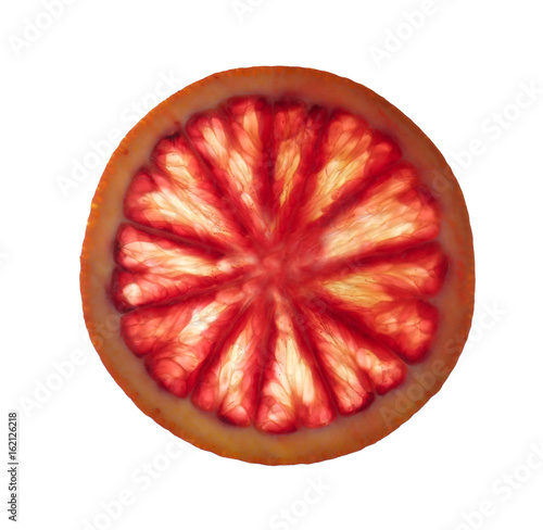 Slice of delicious juicy blood orange on white background Wall mural