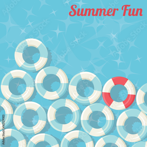 Summer Fun- Swimming Pool Floating Rings Background - vector eps10 #162129083