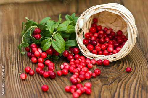 Fotografia  fresh ripe cranberries poured on wooden background from the basket