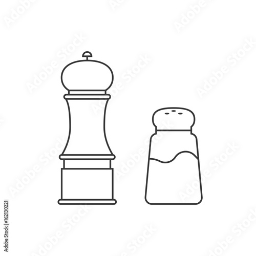 Fotografía  grinder and shaker for salt, pepper, outline icon