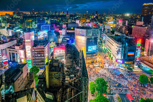 Poster Lieu connus d Asie Shibuya Crossing from top view in Tokyo