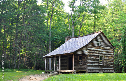 Fototapeta Carter Shields Cabin at Cades Cove, a historic log home built in the 1880s