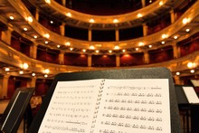 Music Score Sheet In Concert Hall Close Up Music Concept
