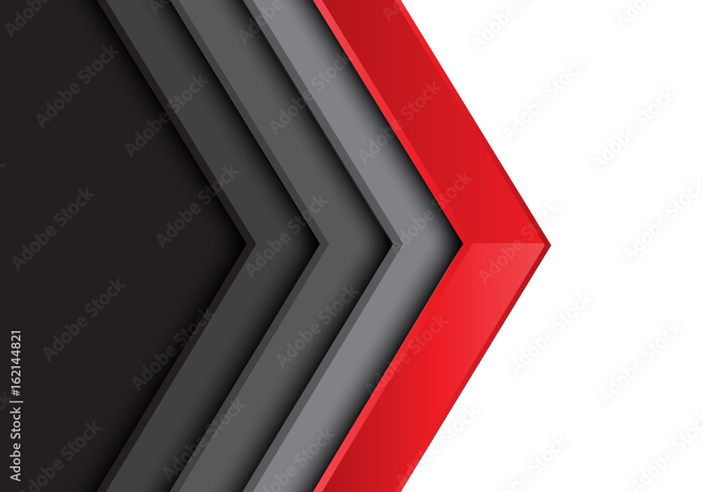 Fototapety, obrazy: Abstract red gray arrow white blank space design modern futuristic background vector illustration.