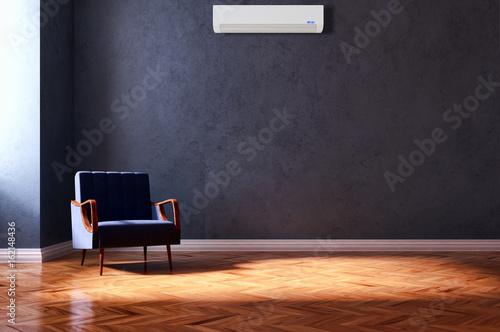 Fototapeta Living room with air conditioning. 3D rendering obraz na płótnie