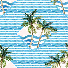 Fototapeta Egzotyczne Watercolor palm tree print in geometric shape on striped background.