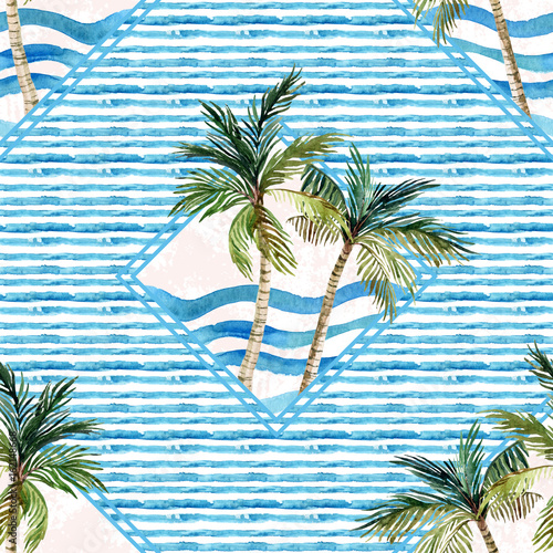 Watercolor palm tree print in geometric shape on striped background. - 162148668