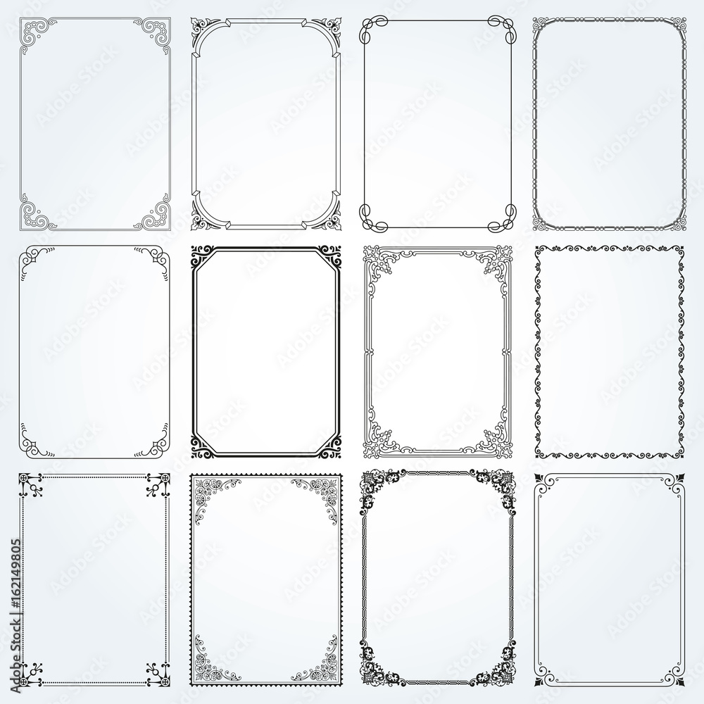 Fototapety, obrazy: Decorative rectangle frames and borders set vector