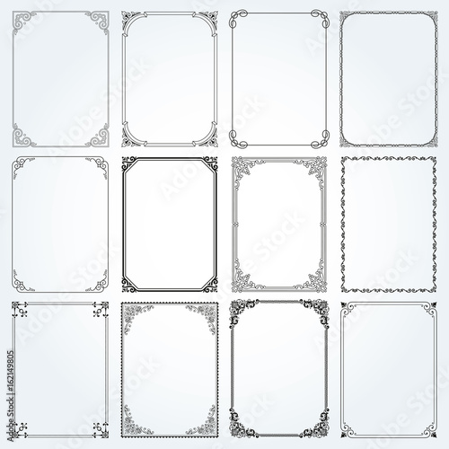 Decorative rectangle frames and borders set vector Canvas Print