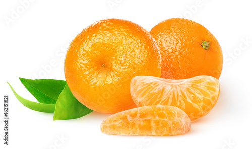 Isolated tangerines. Two whole tangerine or mandarin orange fruits and peeled segments isolated on white background with clipping path