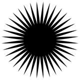 Okrągły element geometryczny szprych promieniowych, linie. Abstrakcjonistyczna czarny i biały ilustracja. Geometryczny motyw koła, okrągła mandala (sylwetka, wersja konturowa) - 162153056