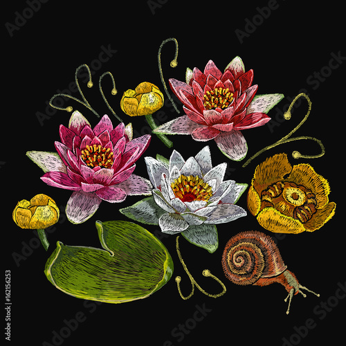 Water lily embroidery. Classical embroidery lotus and water lilies ...