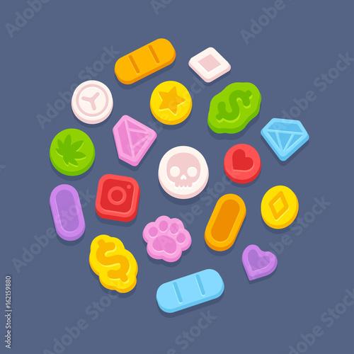 Ecstasy MDMA pills Fototapete