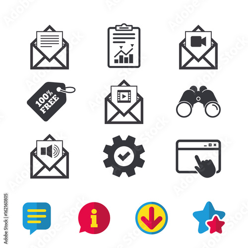 Mail envelope icons  Message document symbols  Video and