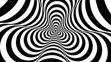 Optical, Visual Illusion, Entrance To The Tunnel. Concentric Oncoming Abstract Monochrome Pattern - Spinner. Seamless Looping Video. Pattern Spinner, Single Density, Triple Rotational Speed