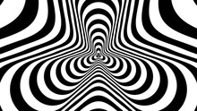 Optical, Visual Illusion, Entrance To The Tunnel. Concentric Oncoming Abstract Monochrome Pattern - Spinner. Seamless Looping Video. Pattern Spinner, Double Density, No Rotation.