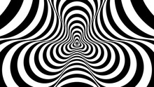 Optical, Visual Illusion, Entrance To The Tunnel. Concentric Oncoming Abstract Monochrome Pattern - Spinner. Seamless Looping Video. Pattern Spinner, Single Density, No Rotation.
