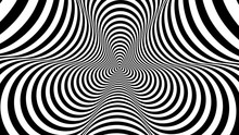Optical, Visual Illusion, Entrance To The Tunnel. Concentric Oncoming Abstract Monochrome Pattern - Spinner. Seamless Looping Video. Pattern Spinner, Double Density, Single Rotational Speed