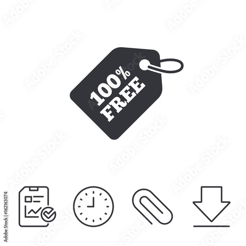 Free tag icon. Freebies banner symbol. Shopping special offer sign. Report, Time and Download line signs. Paper Clip linear icon. Vector Wall mural