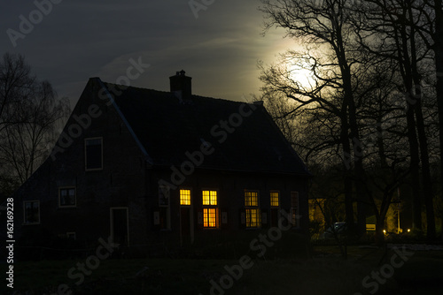 Deurstickers Nacht House and Moon