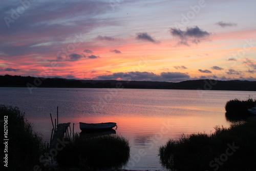 Boot, Sonnenuntergang, Steg