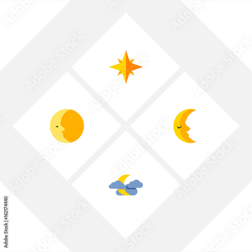 Photo  Flat Icon Night Set Of Asterisk, Moon, Lunar And Other Vector Objects