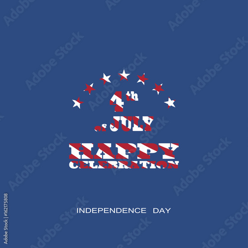 Fototapety, obrazy: Vector poster of Independence Day with text with a pattern from the American flag on the dark blue background.