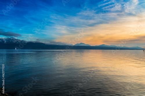 Fotobehang Meer / Vijver Lac Leman (Geneva Lake) in Lausanne, Switzerland. Sunset.