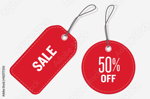 Carta da parati  Red color price tags set. Vector illustration.