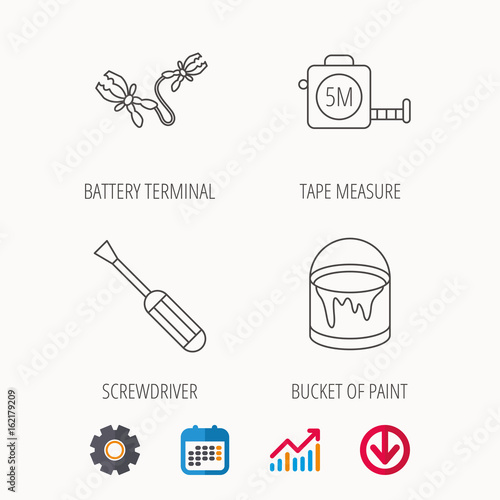 Driver Battery Terminal And Tape Measure Icons Bucket Of Paint Linear Sign Calendar Graph Chart Cogwheel Signs Colored Web Icon
