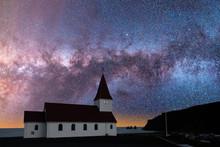 A Church Beneath The Eternal Night Sky And Milky Way Galaxy