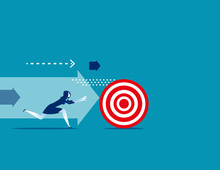 Businesswoman Chasing The Target. Concept Business Vector Illustration.