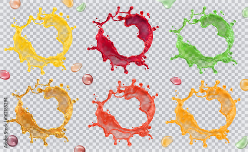 Poster Vormen Fruit juice, splashes of paint. 3d vector icon set