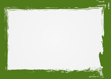 Horizontal Grunge Background With Green Frame. Drawn With A Rough Brush.