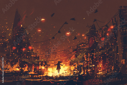 silhouettes of woman on burning village background, digital art style, illustration painting
