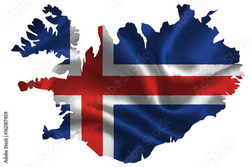 Photo Map of Iceland with national flag on fabric surface